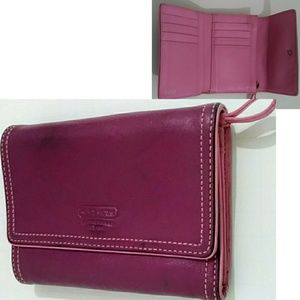 Coach Leather Trifold Wallet Purple & Pink